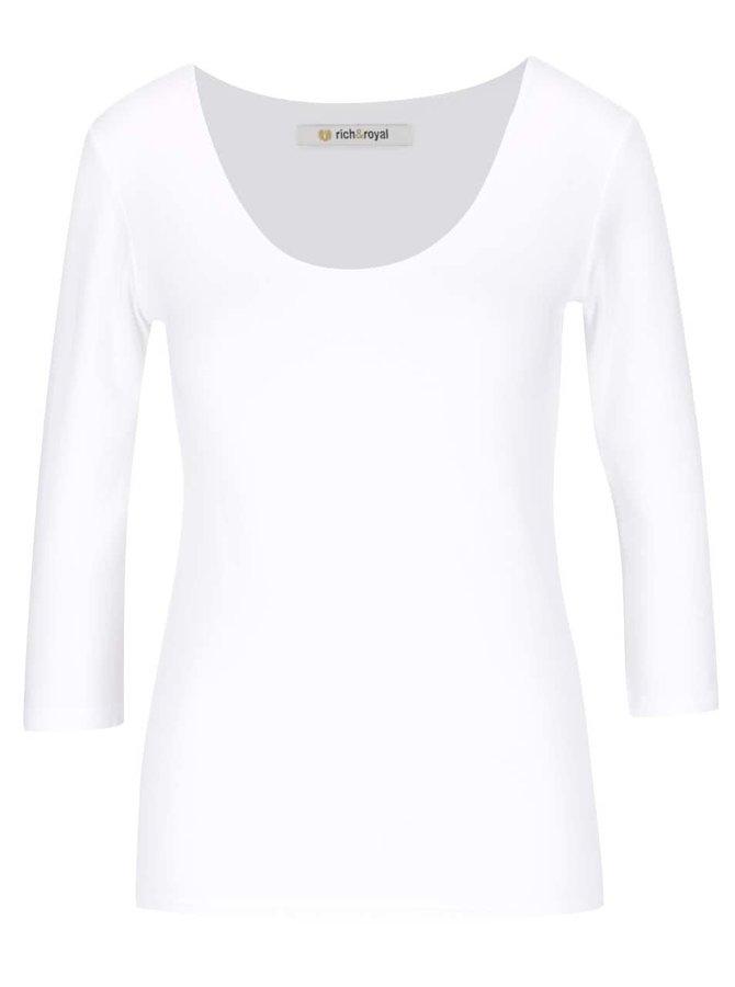 Krémové tričko s okrúhlym výstrihom a 3/4 rukávmi Rich & Royal