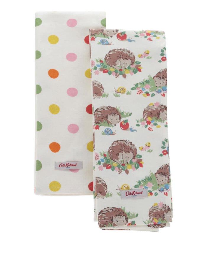 Sada dvou utěrek v krémové barvě s motivem puntíků a ježků Cath Kidston