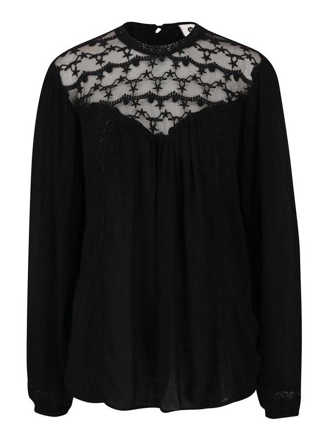 Bluză neagră PEP Fatima cu inserție macrame