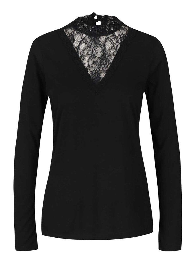 Čierne dámske tričko s čipkou PEP Fabia