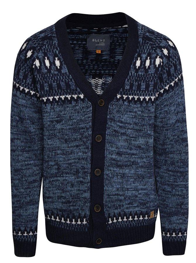 Tmavě modrý vzorovaný cardigan s knoflíky Blend