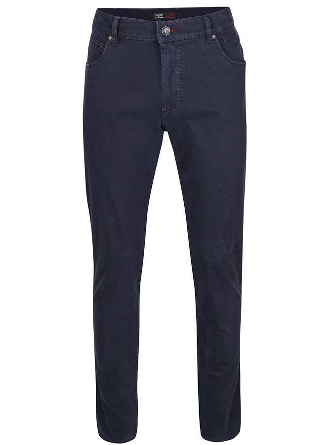 Modré pánske nohavice s vyšúchaným efektom bugatti