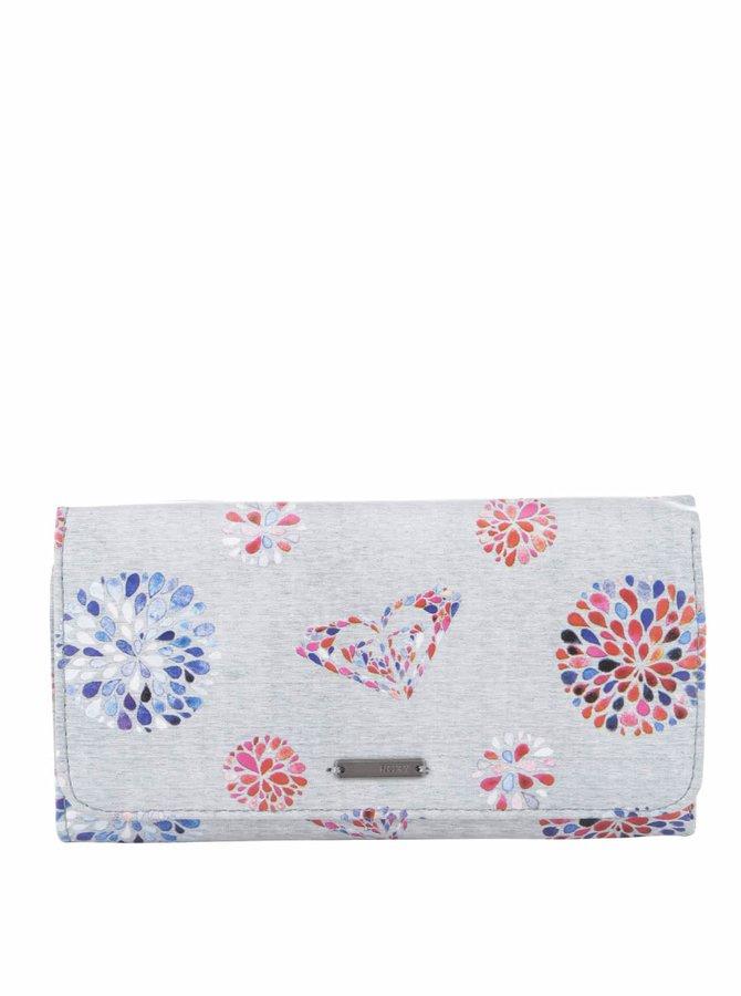 Sivá peňaženka s potlačou kvetín Roxy My