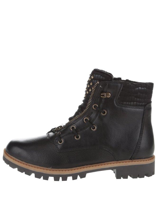 Černé kožené kotníkové boty s detaily na jazyku Tamaris