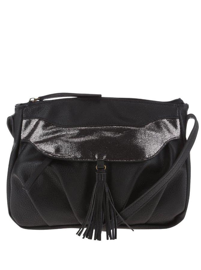 Černá kabelka s třásní Pieces Dalopsa