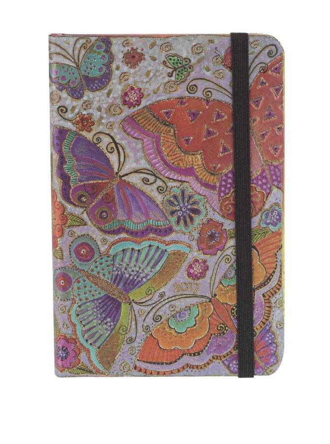 Farebný diár s potlačou motýľov na rok 2017 Paperblanks Flutterbyes Mini