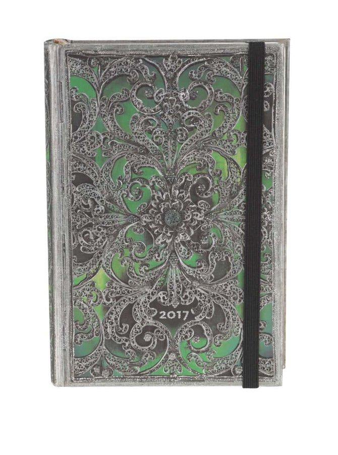 Strieborno-zelený diár na rok 2017 Peperblanks Esmeralda Mini