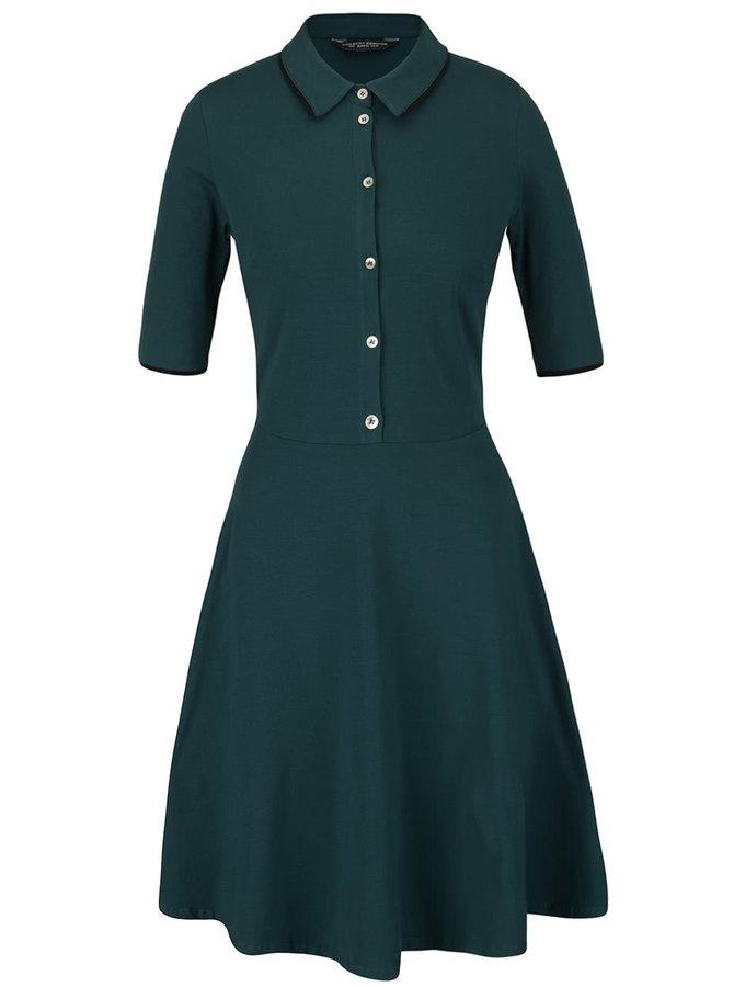 Zelené šaty s knoflíky a límečkem Dorothy Perkins