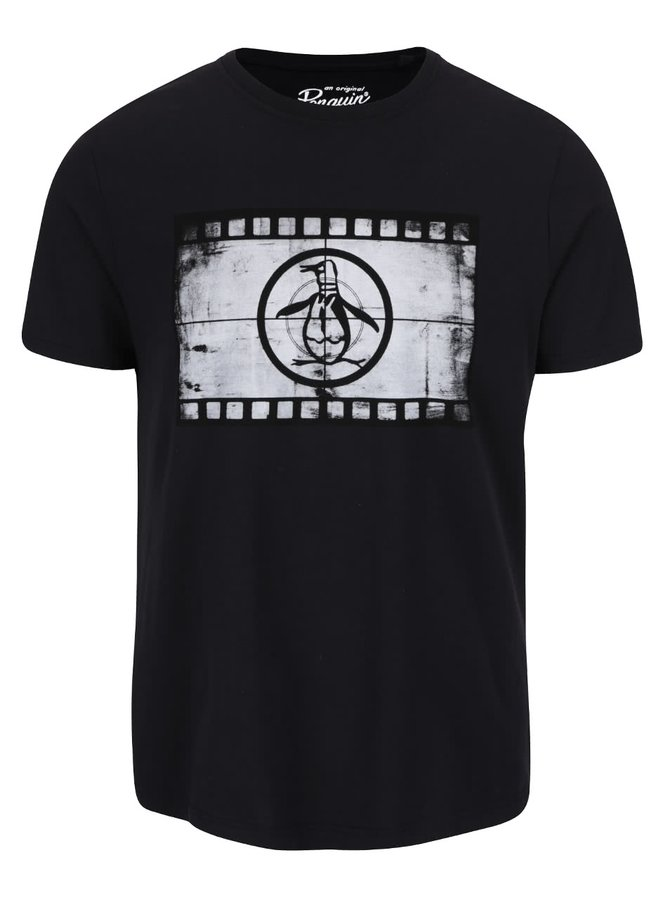 Čierne tričko s potlačou Original Penguin Film Reel