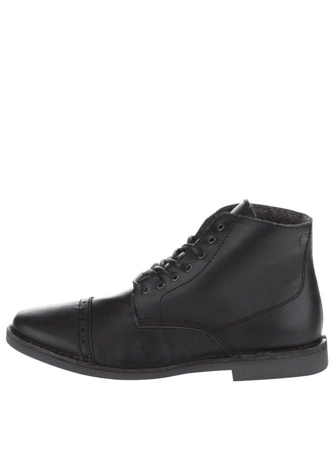 Čierne kožené členkové topánky Jack & Jones Gobi