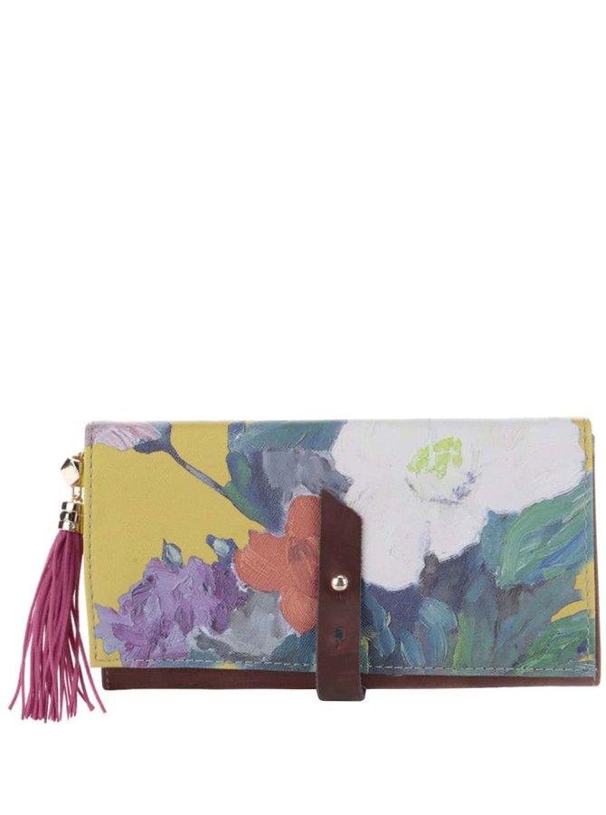 Hnedá peňaženka s farebnou potlačou Disaster