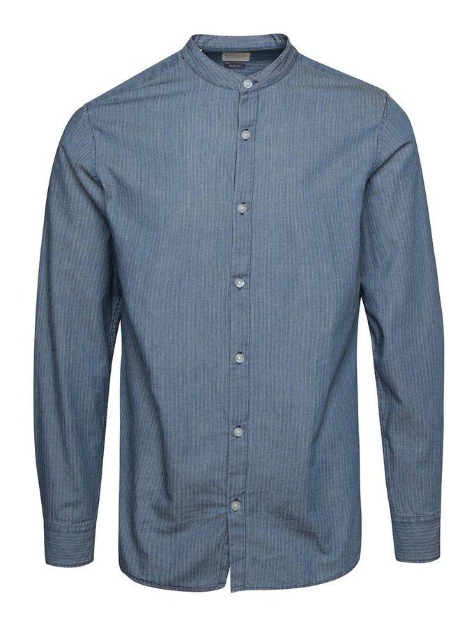 Modrá pruhovaná košile bez límečku Selected Homme Robert