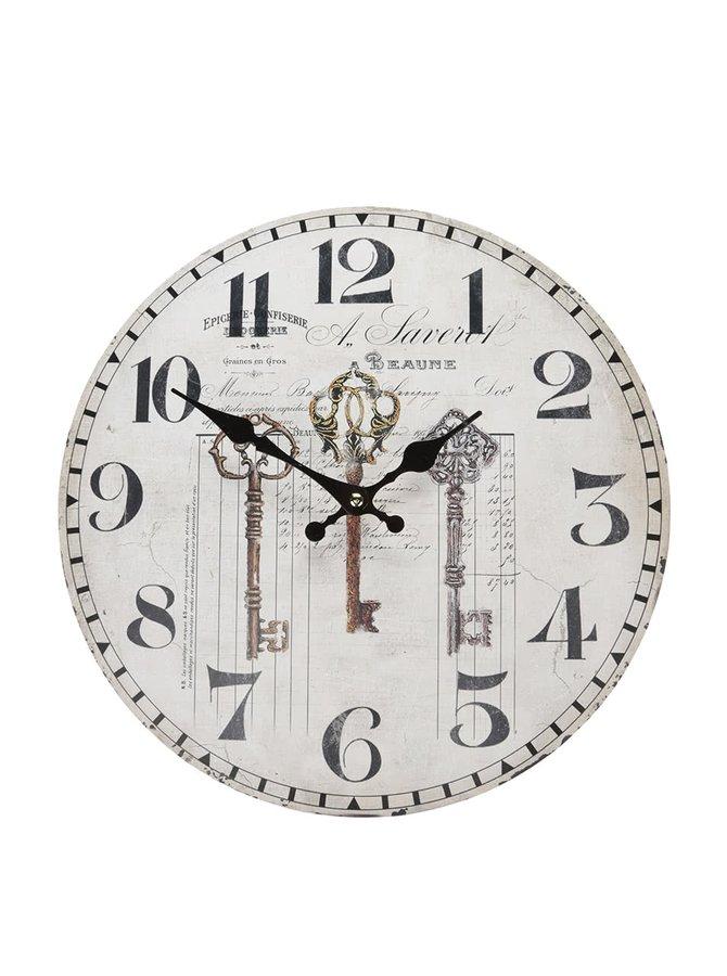 Béžové drevené hodiny s kľúčmi Dakls