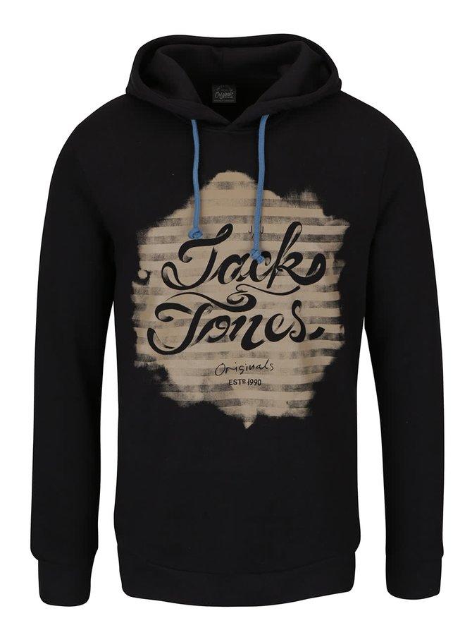 Hanorac negru Jack & Jones Gerber din bumbac cu print