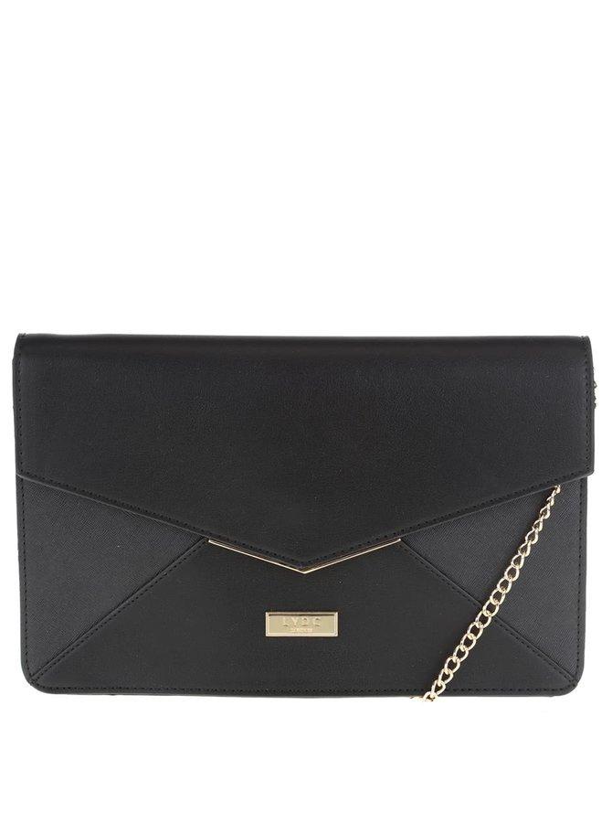 Čierna menšia listová kabelka s detailmi v zlatej farbe LYDC