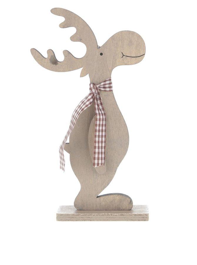 Hnědá dřevěná dekorace ve tvaru soba se vzorovanou šálou Dakls