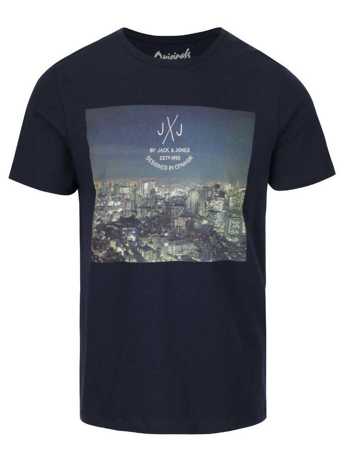 Tmavě modré triko s potiskem Jack & Jones Funbox