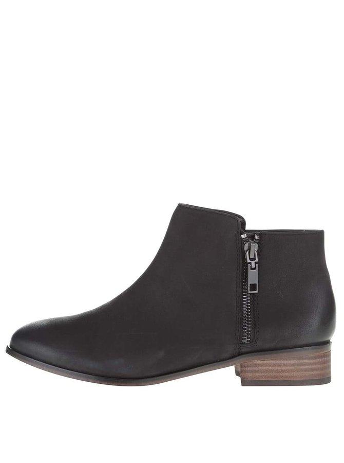 Černé kožené kotníkové boty ALDO Julianna