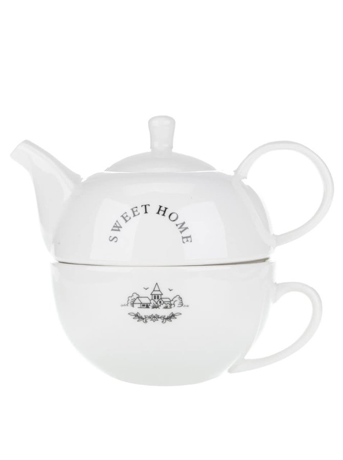Bílý keramický čajový set Dakls Sweet home