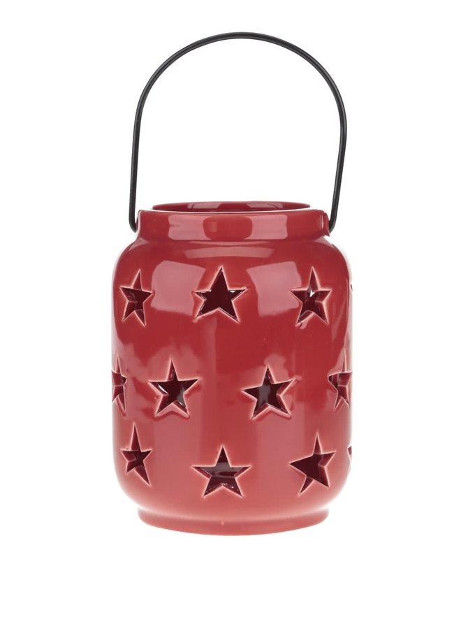 Červený závěsný keramický svícen s hvězdami Dakls