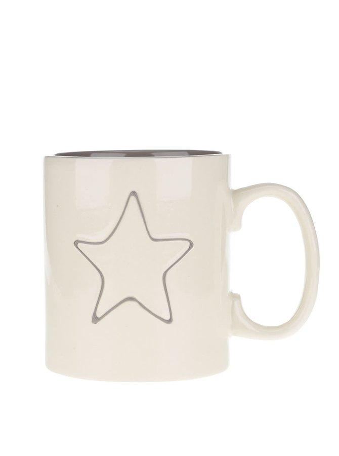 Krémový keramický hrnček s hviezdou Dakls