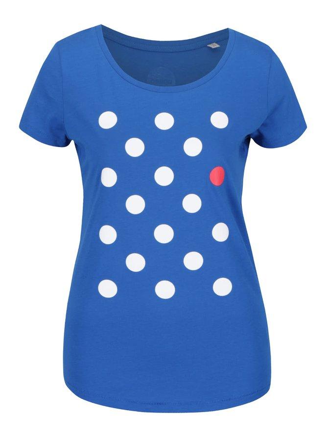 """""""Dobré"""" modré dámske tričko s potlačou bodiek Mamma HELP"""