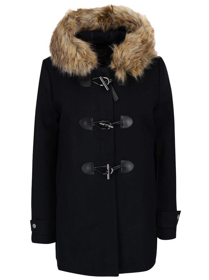 Tmavě modrý dámský vlněný kratší kabát s umělým kožíškem Superdry