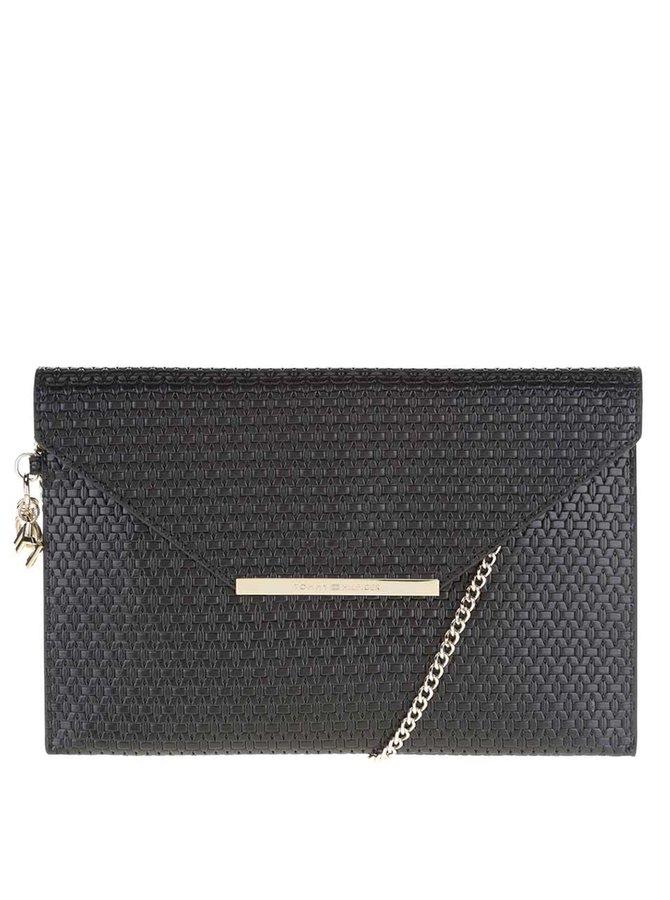 Čierna koženková listová kabelka s retiazkou Tommy Hilfiger