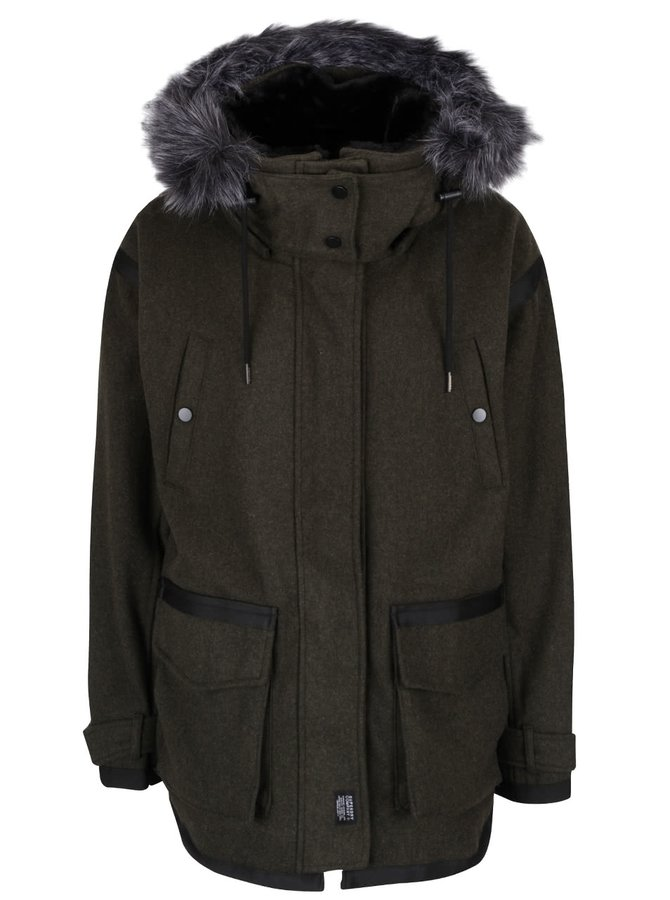 Tmavozelená dámska vlnená bunda s umelým kožúškom Superdry Fjord