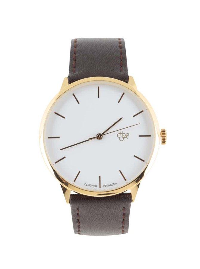 Tmavohnedé unisex kožené hodinky Cheapo Khorshid Gold