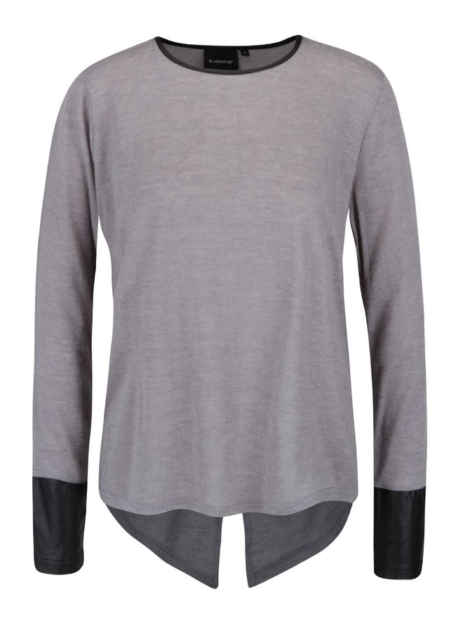 Bluză gri deschis b.young cu detalii piele sintetică