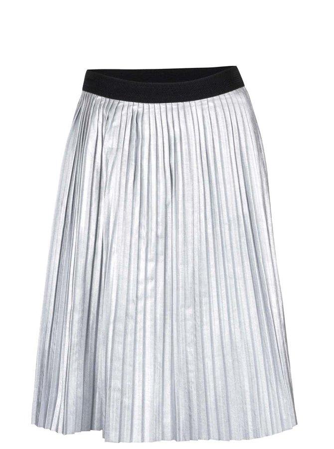 Plisovaná koženková sukňa v striebornej farbe ZOOT