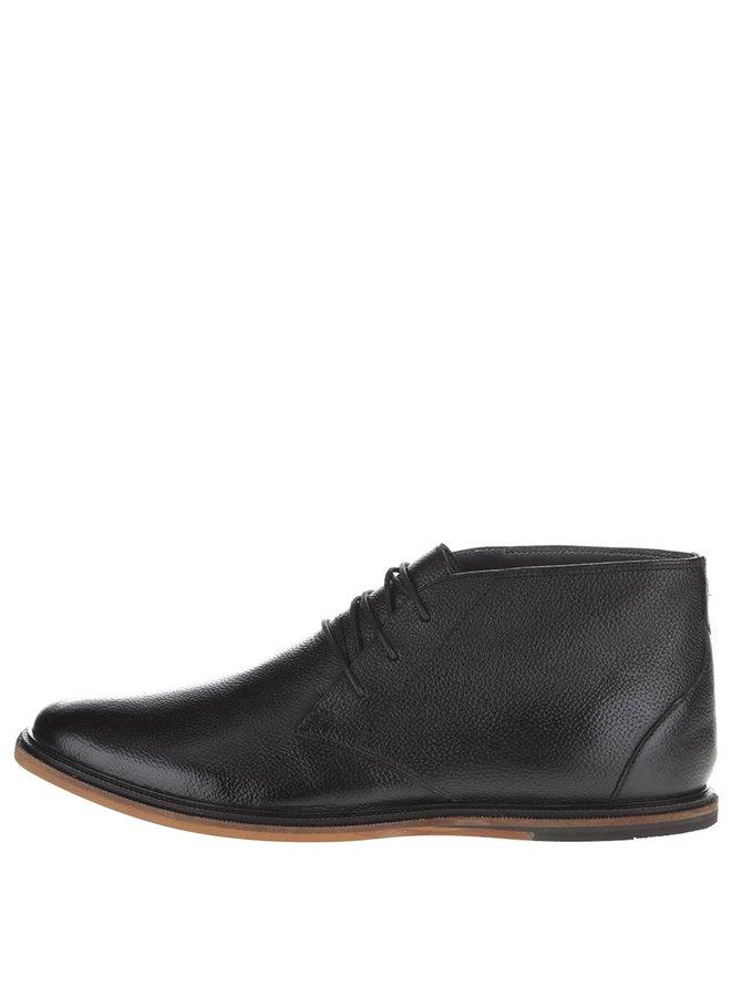 Čierne kožené členkové topánky Frank Wright Walker