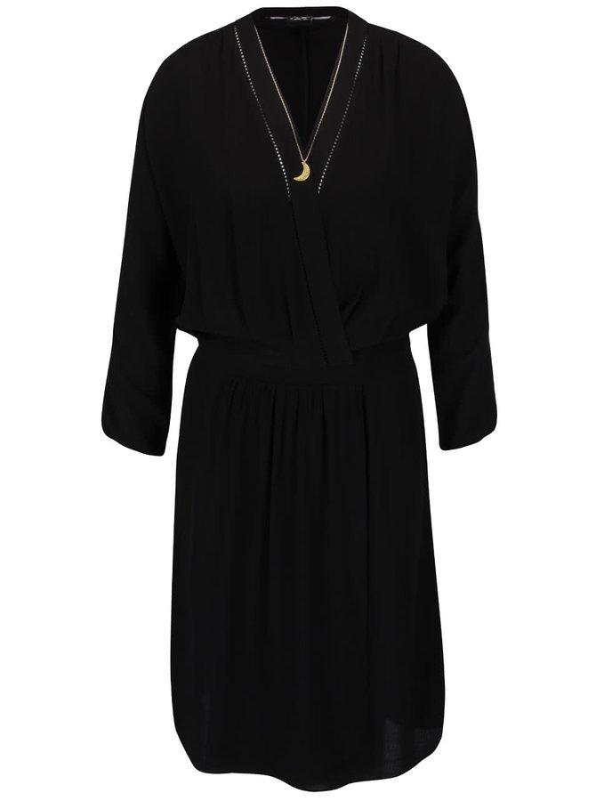Čierne šaty s priehľadným výstrihom Maison Scotch