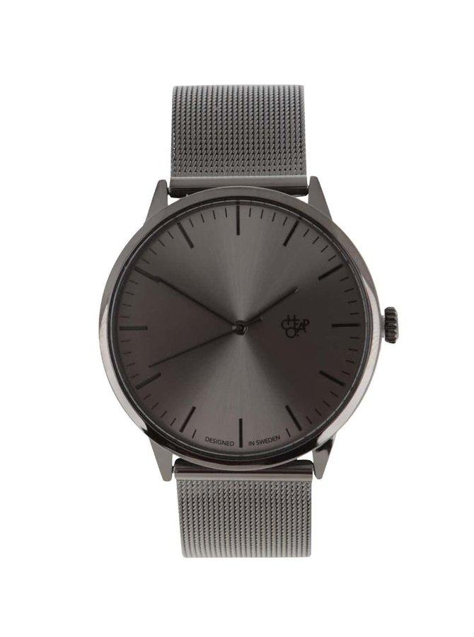 Černé unisex hodinky s nerezovým páskem CHPO Nando Metal