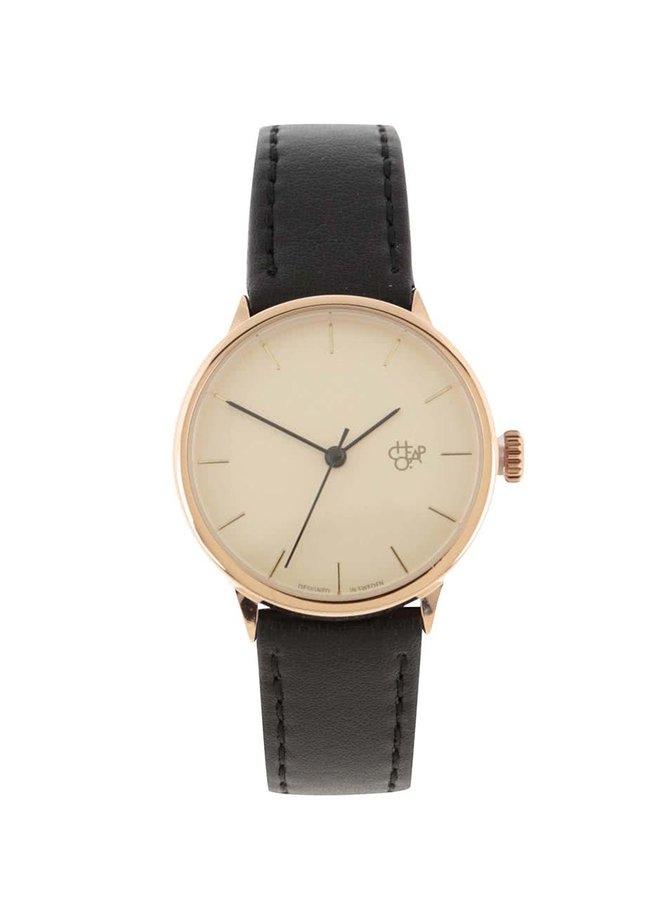Dámské hodinky ve zlaté barvě s černým páskem z veganské kůže CHPO Khorshid Mini Ros