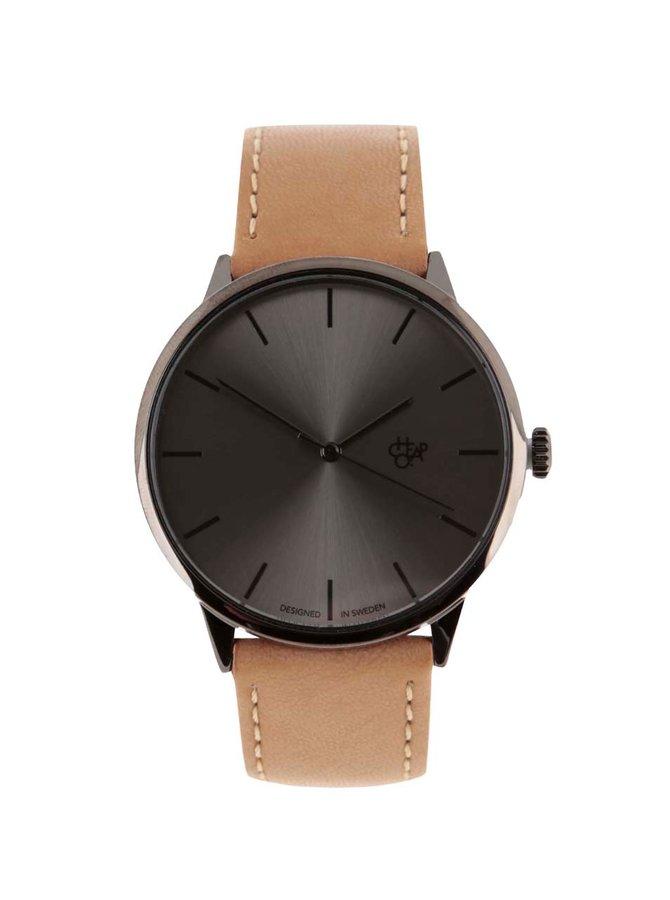 Tmavě šedé unisex hodinky se světle hnědým páskem z veganské kůže Cheapo Khorshid Funk