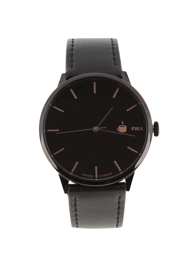 Černé unisex veganské hodinky Cheapo Khorshid Fika