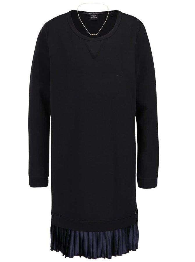Čierne mikinové šaty s tmavomodrou plisovanou sukňou Maison Scotch