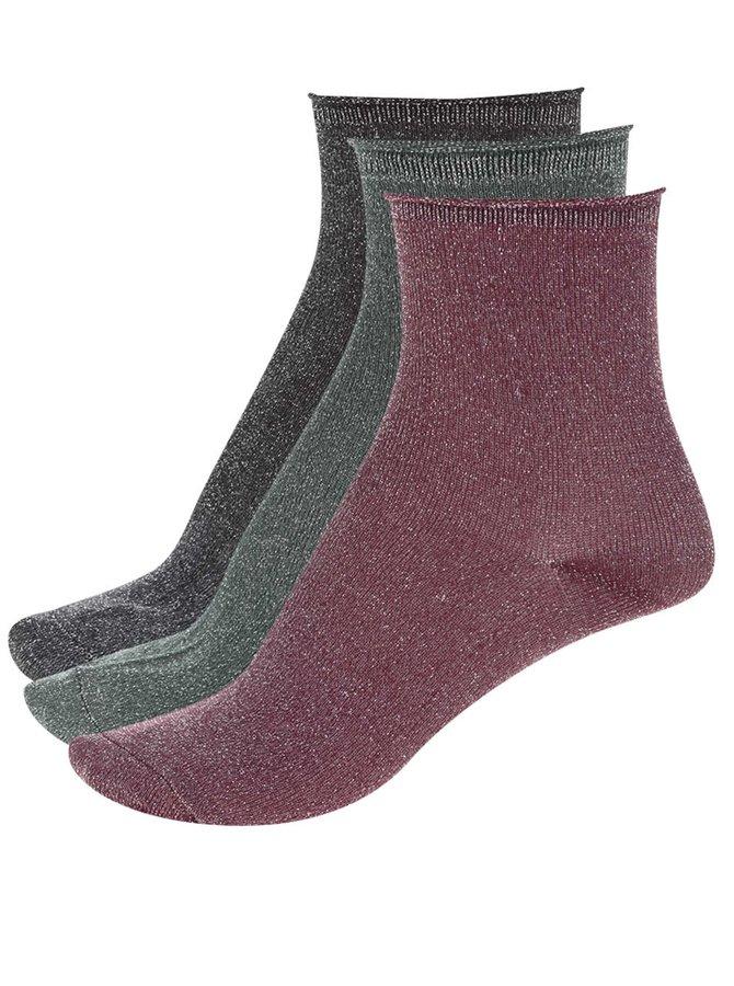 Sada 3 párů barevných ponožek s metalickým vláknem ONLY Simla