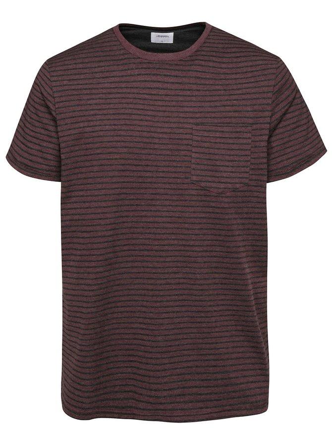 Vínové pruhované triko s kapsou Burton Menswear London
