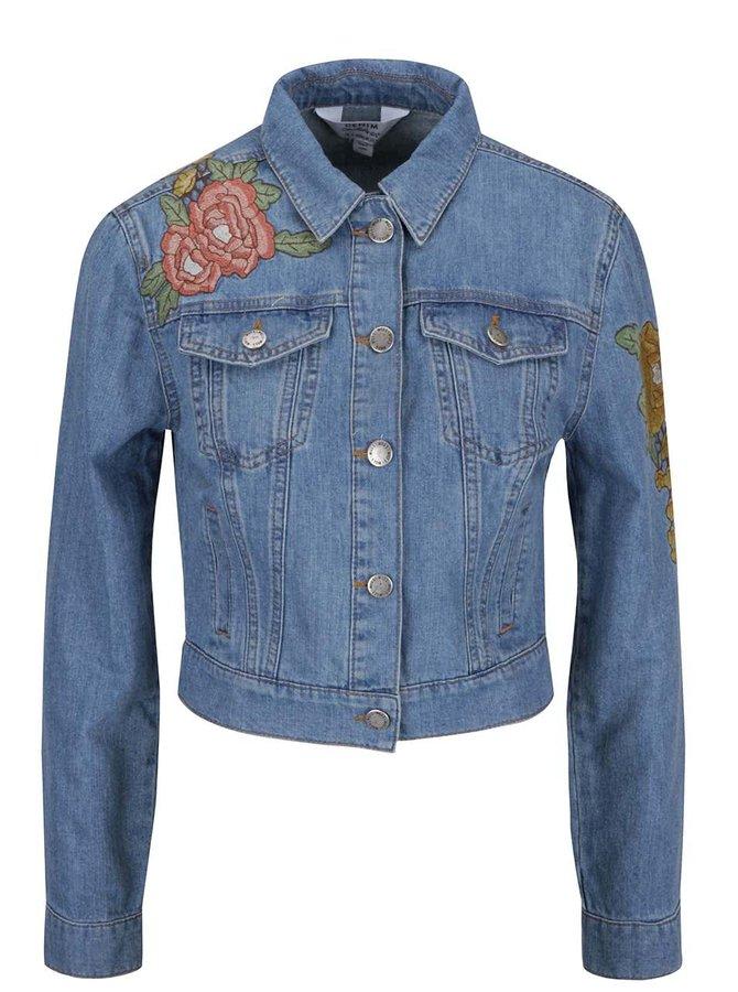 Modrá rifľová bunda s kvetinovou výšivkou Miss Selfridge