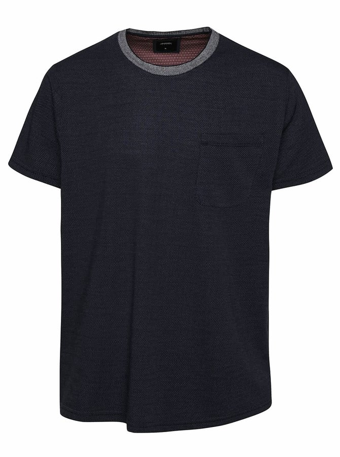 Tmavě modré triko se vzorem Burton Menswear London
