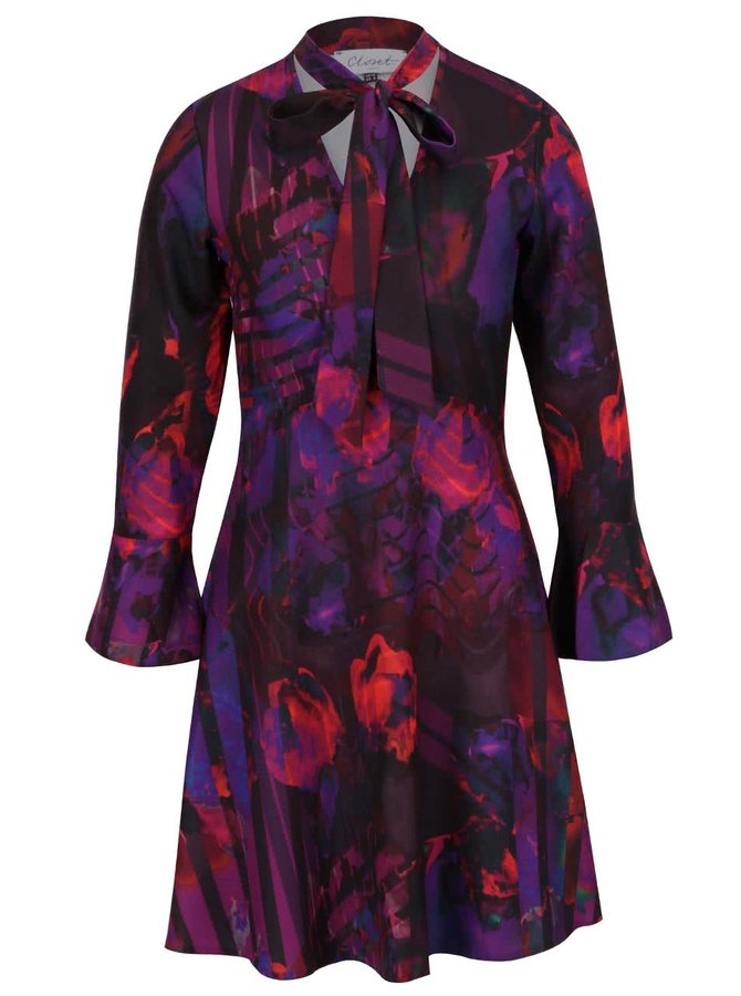 Fialovo-černé vzorované šaty s dlouhým rukávem Closet