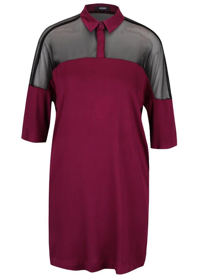 Ružovo-fialové šaty s priesvitnými ramenami Alchymi Joya