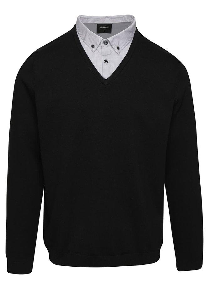 Pulover negru Burton Menswear London cu aspect 2 în 1