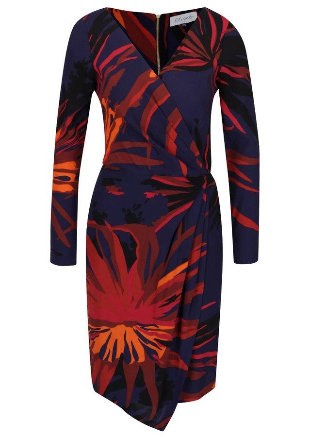 Oranžovo-modré vzorované šaty s prekladaným výstrihom Closet
