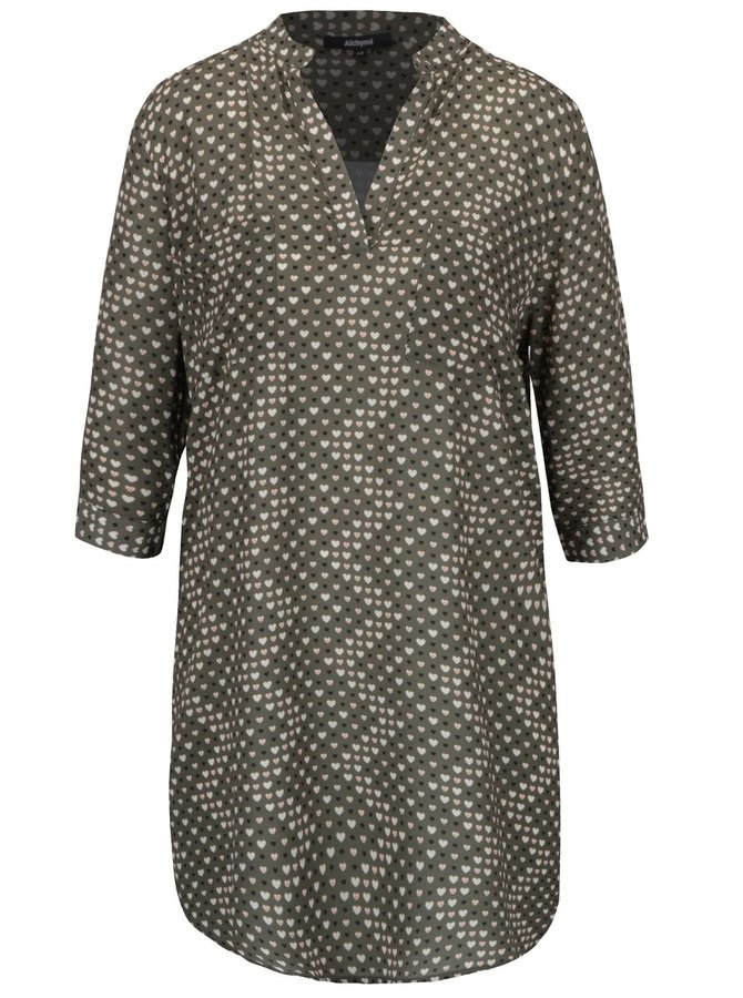 Kaki šaty so vzorom srdiečok Alchymi Joya