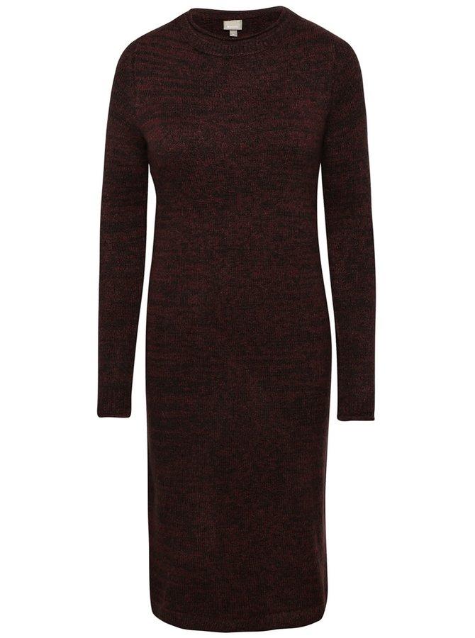 Černo-vínové žíhané svetrové šaty Bench Chronicler