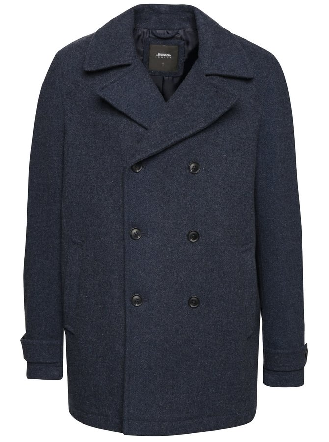 Tmavomodrý vlnený kabát Burton Menswear London